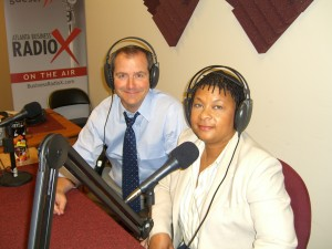 Adrienne and Sam in the Business Radio X Studio